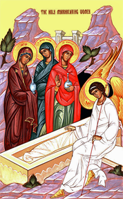 icon of the Resurrection featuring the Holy Myrrhbearing women at the tomb with the angel